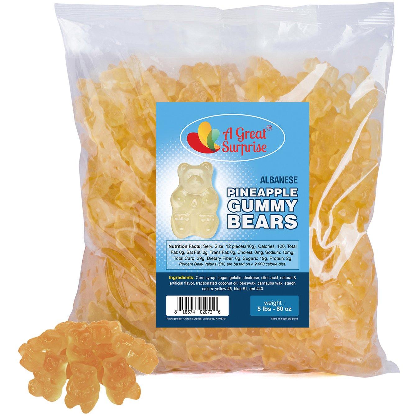 Gummy Bears Bulk - Gummi Bears Pineapple - Pineapple Gummie Bears - Bulk Candy 5 LB