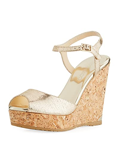 cfa0d9da5429 Image Unavailable. Image not available for. Color  JIMMY CHOO Perla Metallic  Platform Wedge Sandals 40.5