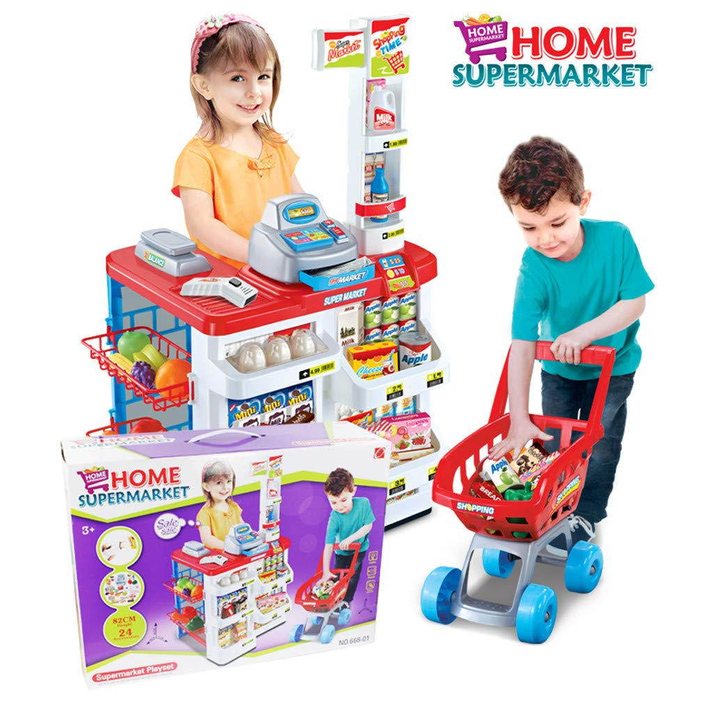 TKI-S 33 Pieces Kids Toy Supermarket Cash Register Shop Trolley Accessories - Shopping cart, Cash Register, Scale,Scanner, 8X Fruits and Vegetables, 4X Drinks, 3X Eggs, 8X Boxed Food, 6X Money