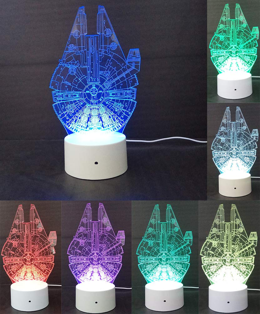Easyinsmile 3D LED Night Light Star Wars Millennium Falcon Lamp Room Home Decoration Gifts Multi 7 Color Charge Button LED Desk Table Light Lamp Bedroom