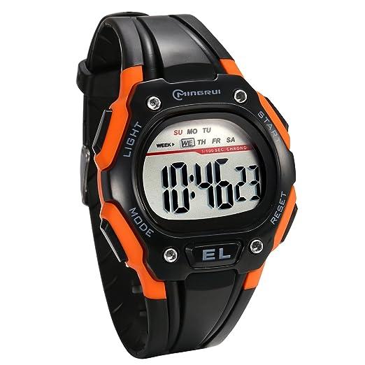 JewelryWe Reloj Digital de Hombre Militar Deportivo Reloj Grande Noctilucente Correa de PVC de Estilo Piloto, Multifuncional Naranja Reloj de Pulsera Para ...