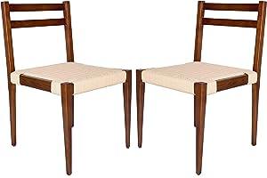 "Amazon Brand – Stone & Beam Jane Mid-Century Dining Chair, Set of 2, 19.5""W, Ash Wood, Brown"
