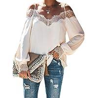 Donnalla Women's Lace Crochet V Neck Long Sleeve Spaghetti Strap Off Cold Shoulder Blouses Trixie Tops