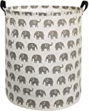 HIYAGON Canvas Storage Basket,Large Laundry Basket with Handles-Collapsible Storage Bin for Kids Room,Nersury Hamper,Toy Storage 19.7×15.7 (Grey Elephant)