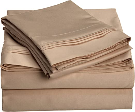 King Size Taupe Solid 4 Piece Sheet Set 1000 Thread Count 100/% Egyptian Cotton