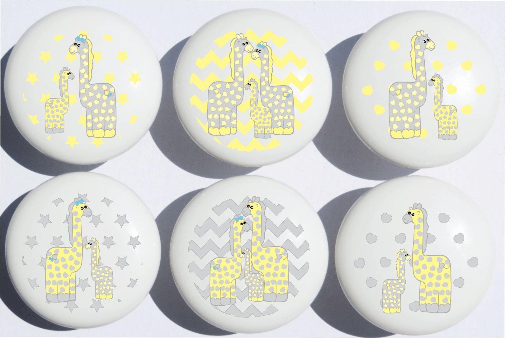 Yellow Giraffe Drawer Pulls/Safari Ceramic Cabinet Drawer Knobs/Giraffe Nursery Decor/Set of 6 (Yellow Giraffe)