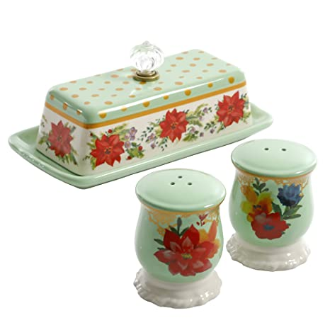 the pioneer woman holiday salt and pepper butter dish set mint
