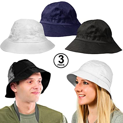 8a7e5601bb3 Image Unavailable. Image not available for. Color  CoverYourHair Sun Hats - Fishing  Hats - 3 Pack Bucket Hats - Fisherman Hats - Summer