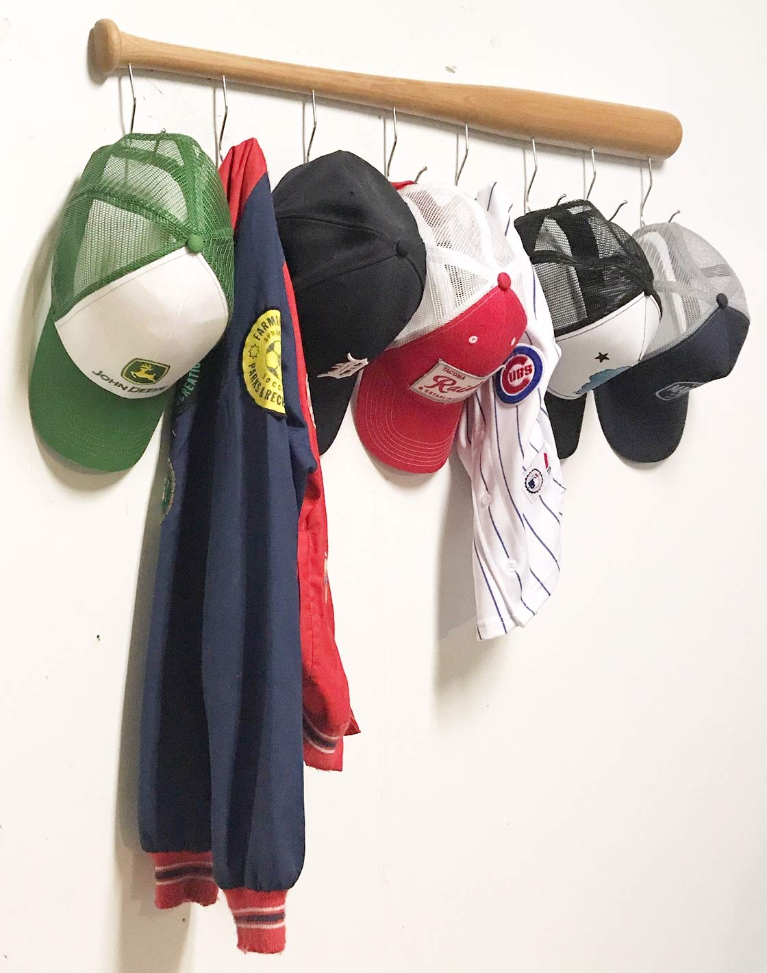 KT Bats Coat Rack Wall Mount Baseball Bat Cap Hat Towel Jersey Display no Assembly Required Unique Idea for Sports Fans Perfect Mudroom Bedroom ...