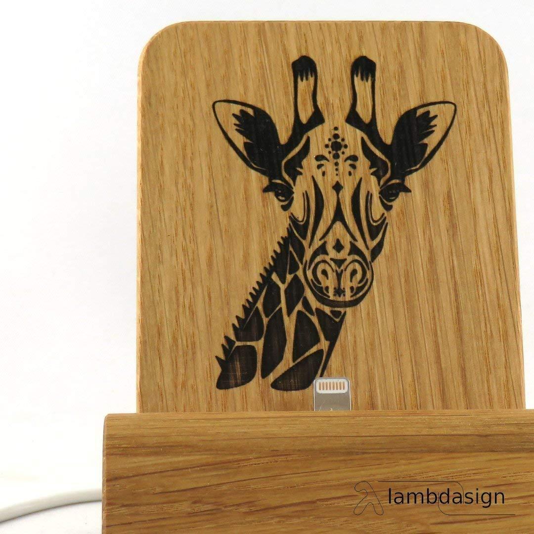 Eiche massiv f/ür iPhones mit und ohne Schutzh/ülle Smartphone Dock Edition Giraffe