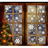 jollylife 190+ Christmas Snowflake Window Clings Decorations - White Baubles / Bells -Winter Wonderland Xmas Party Stickers Decal Ornaments