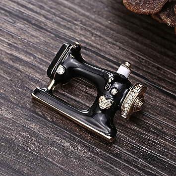 Pegcdu Única máquina de Coser Broche de Mujeres Broche de Aguja de Dril de algodón de la Chaqueta de la joyería Bolsa de Regalo Decorativo Placa de Aguja: Amazon.es: Hogar