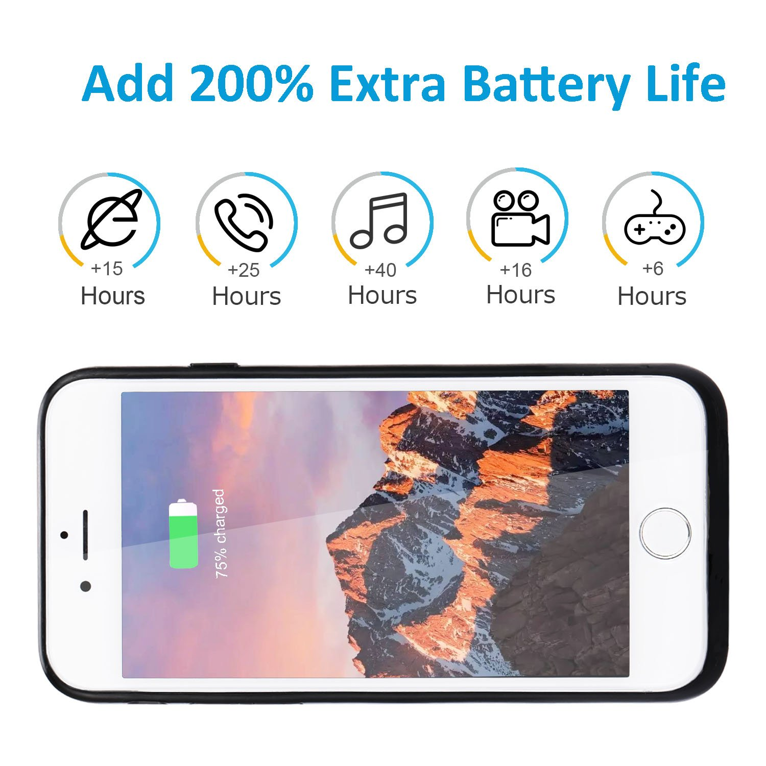 Mozeat Compatible With 4.7 Inch iPhone 6 6s 7 8 Battery Case Slim Rechargeable Protective Case Cover Charger Power Bank Extended 4000 mAh Black Charging Case External Battery Pack For iPhone 6 6s 7 8