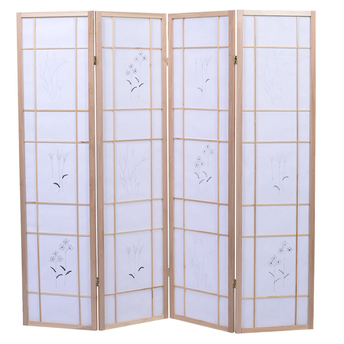 4 Panel Flowered Room Divider Screen Style Shoji Solid New Wood Natural