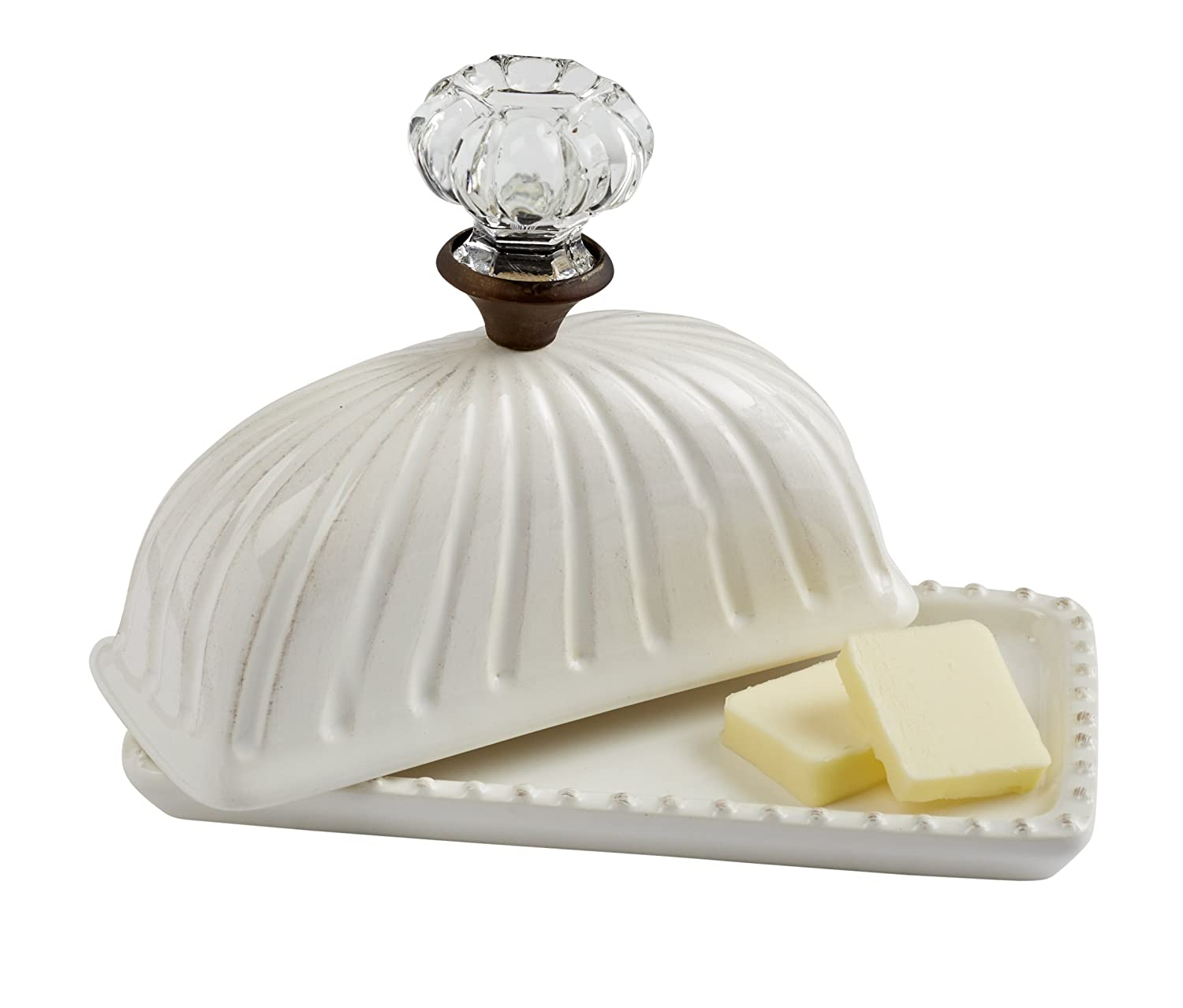 Christmas Tablescape Décor - Vintage inspired fluted white ceramic butter dish with a clear glass door knob cover
