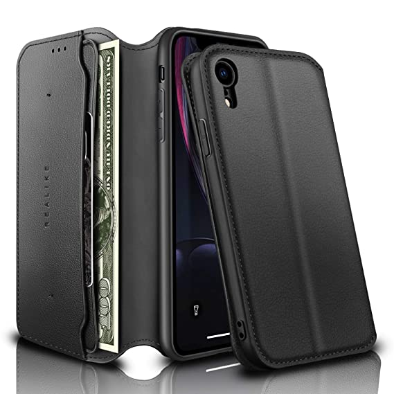9320af00e51 REALIKE iPhone XR Wallet Case Leather Folio Flip Case with Kickstand for iPhone  XR Slim Fit
