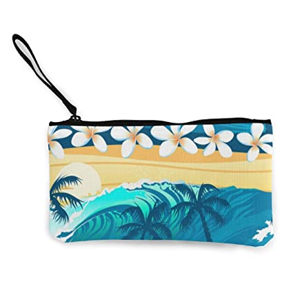 Embrague de Lona Surfing Blue Palm Leaves Monederos Monedero ...