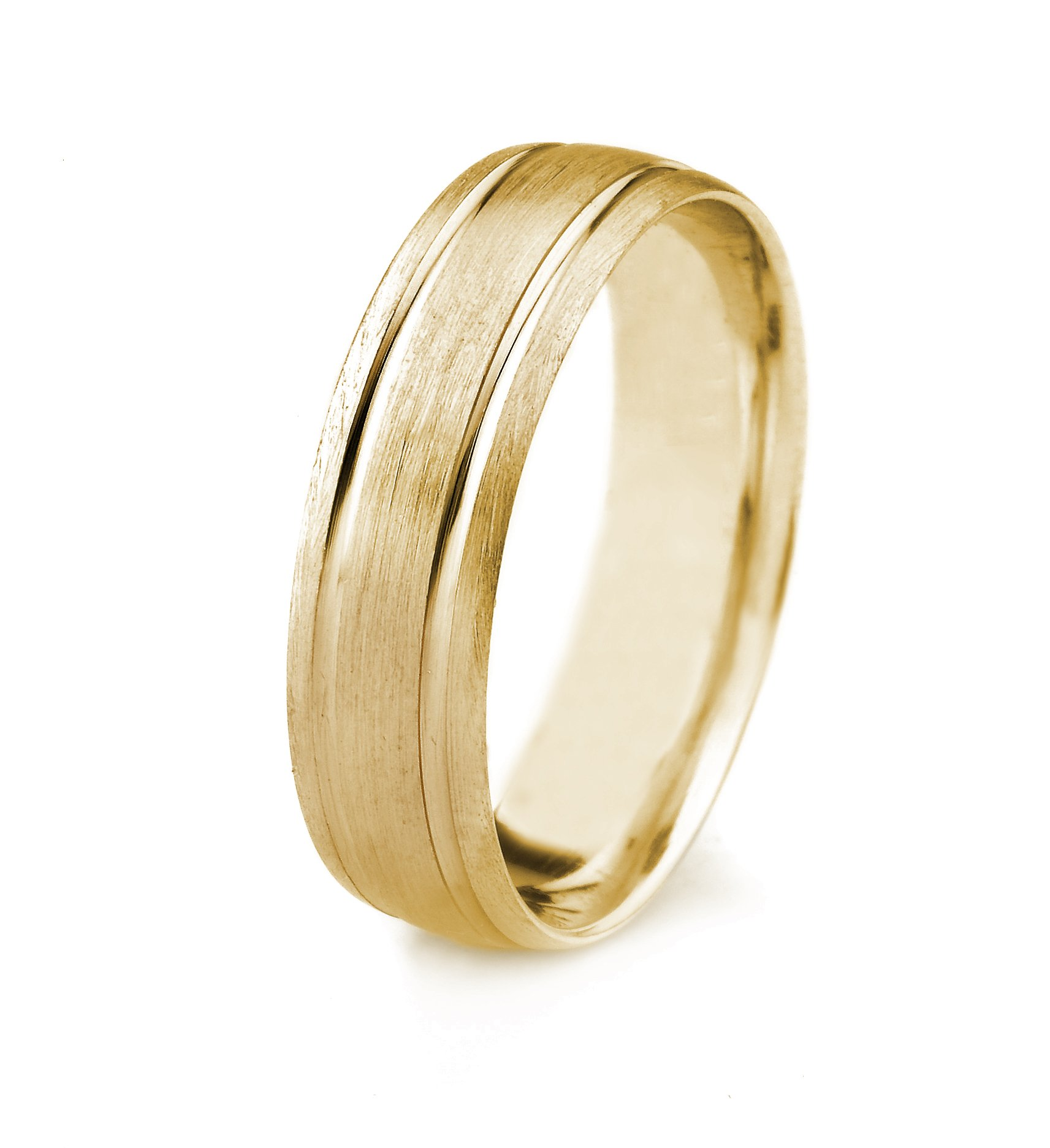 10k Gold Men's Wedding Band with Satin Finish and Parallel Grooves (6mm)