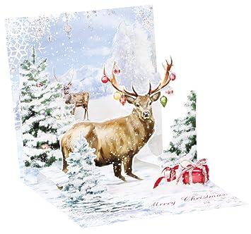 Ciervo ciervos de Navidad Pop Up 3d tesoro tarjeta de ...