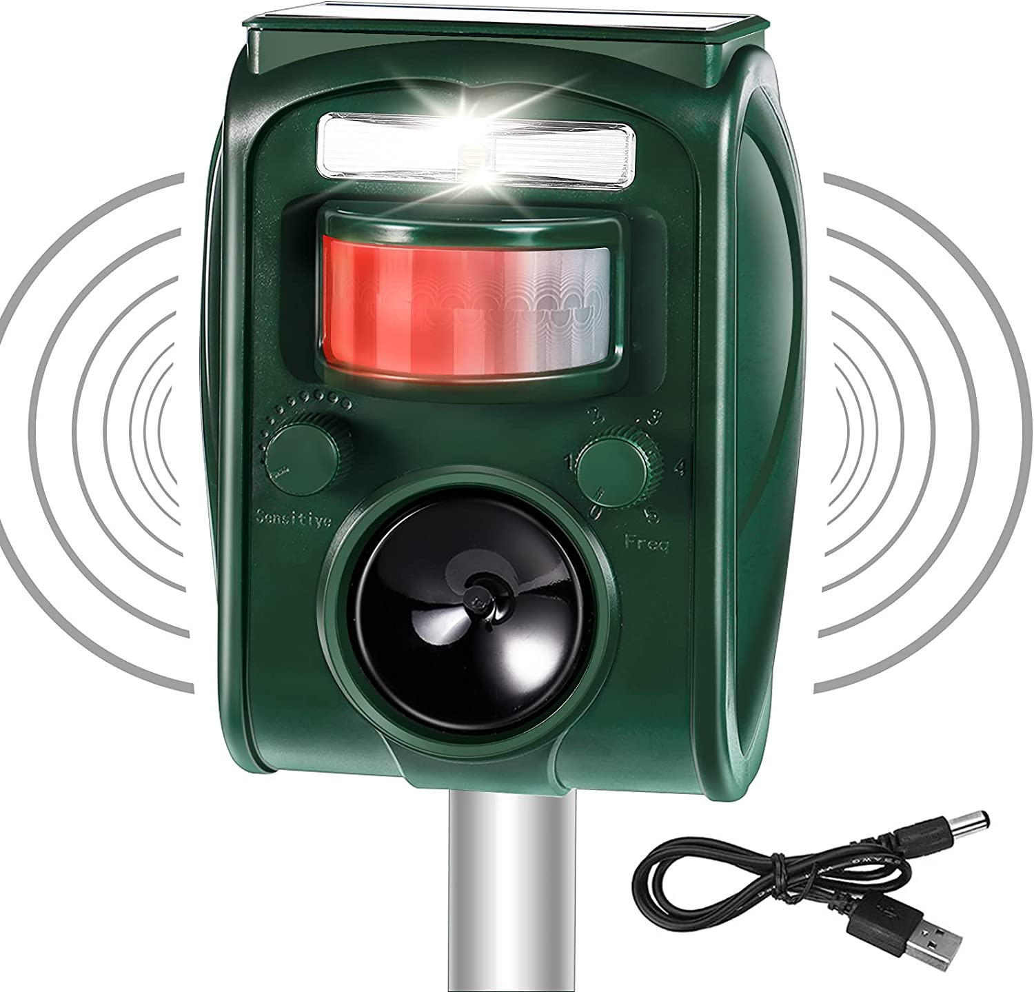 TALLANT Ultrasonic Outdoor cat Animal Repeller Solar Animal Repellent with Motion Activated and Flashing LED Lights Waterproof Repeller for Dogs, Racoon, Deer, Birds, Skunks, Squirrels, Rabbit, Fox