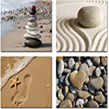 Wieco Art - Romantic Beach Theme 4 Panels Modern Giclee Artwork Sea Beach Ocean Canvas Prints Contemporary Abstract Seascape Pictures to Photo Paintings on Canvas Wall Art for Home Decorations Wall Decor, 12x12inchx4pcs, P4R1x1-02 by Wieco Art