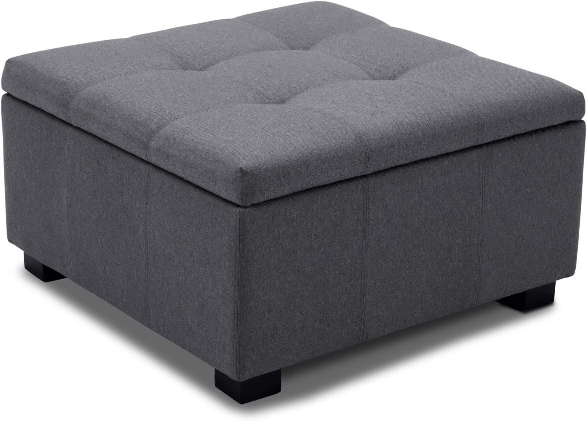 BELLEZE Upholstered Modern Style Indoor Living Room Bedroom Storage Tufted Ottoman Squared Foot Bench, Grey
