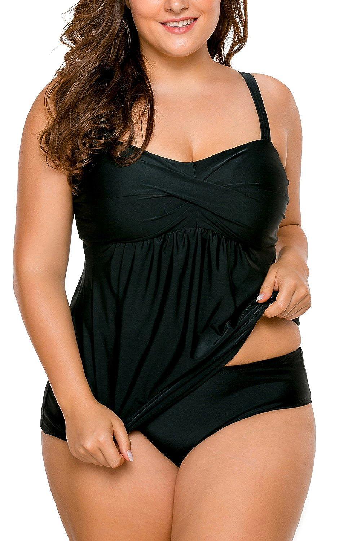 3d6cb86f4dd44 Lalagen Women s Straps Swimdress Plus Size Two Pieces Tankini Bikini Set at  Amazon Women s Clothing store