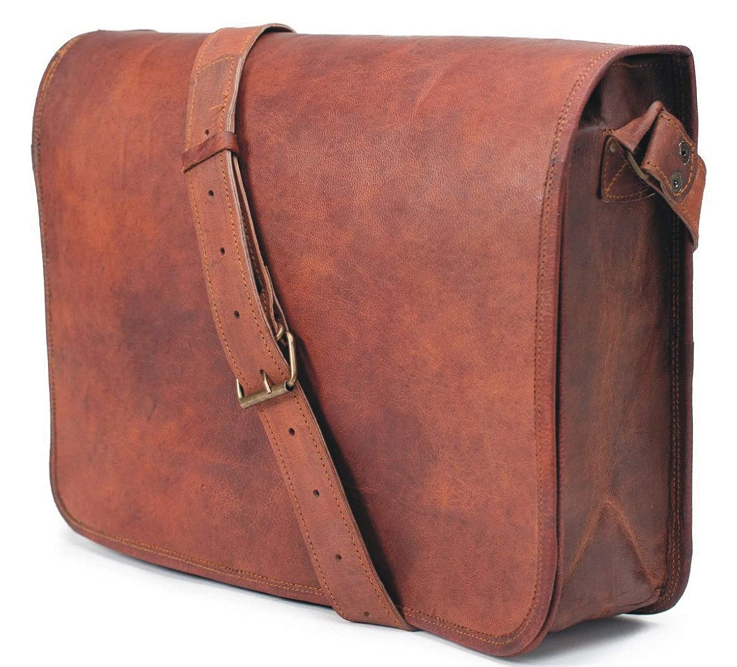 **S-Bazar** FF 18 Inch Vintage Handmade Leather Messenger Bag for Laptop Briefcase Satchel Bag