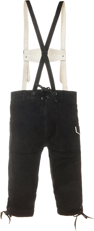 Kinder Trachtenlederhose Kniebund inkl Hosentr/äger braun oder schwarz