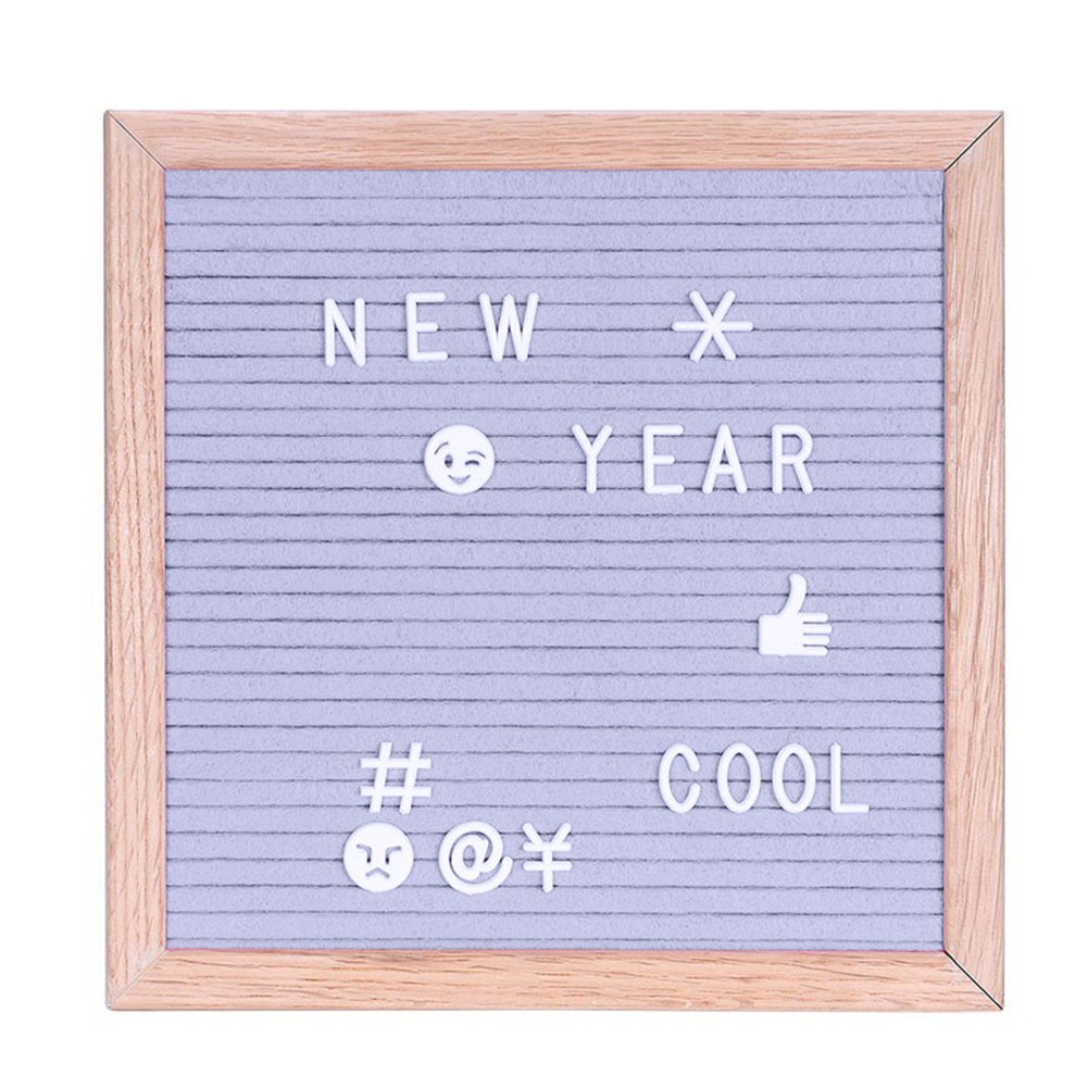 preliked Handmade Letter Board With Letters Decoration Message Felt Board Sign Pine Frame (Grey)