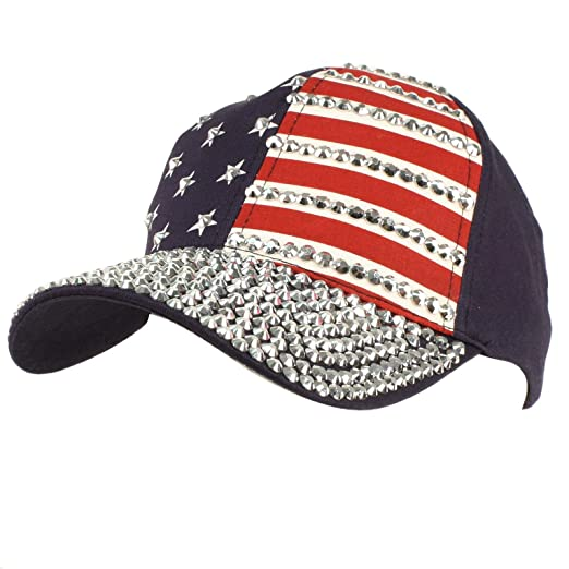 Cute USA Flag Jewel Rhinestone Bling Studs Baseball Ball Cap Hat Adjustable  Navy 7cf2320becb