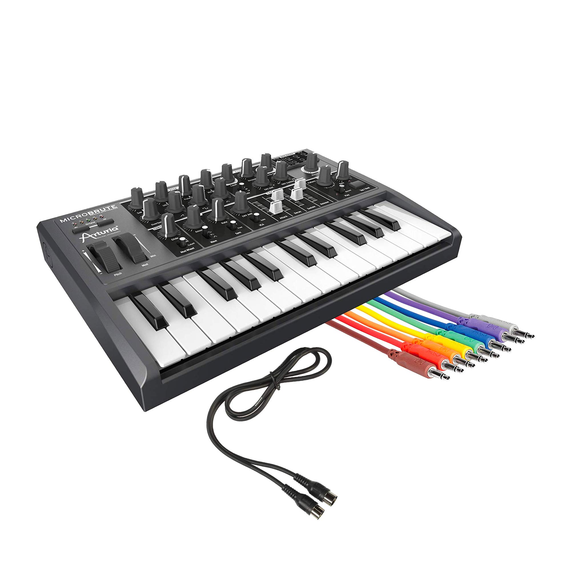 Arturia MicroBrute Analog Synthesizer w/Hosa 1.5' Unbalanced Patch Cable 3.5mm and 3' Midi Cable