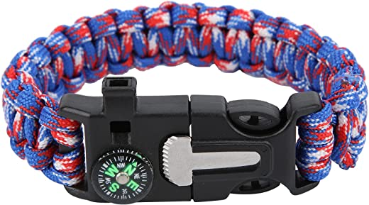 Longzhuo 5 in 1 Paracord Bracelet, 7 Core Survival Bracelet with Compass Fire Starter Whistle Knife