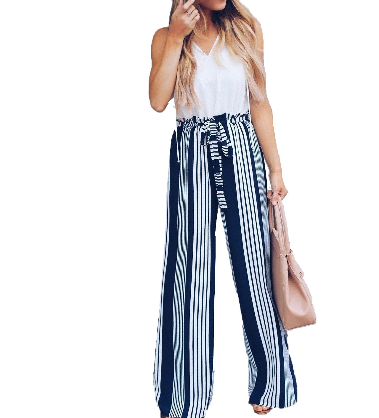 Asrlet Fashion Women High Waist Wide Leg Long Pants Summer Casual Stripped Trousers (US 8-10 (TAGL))