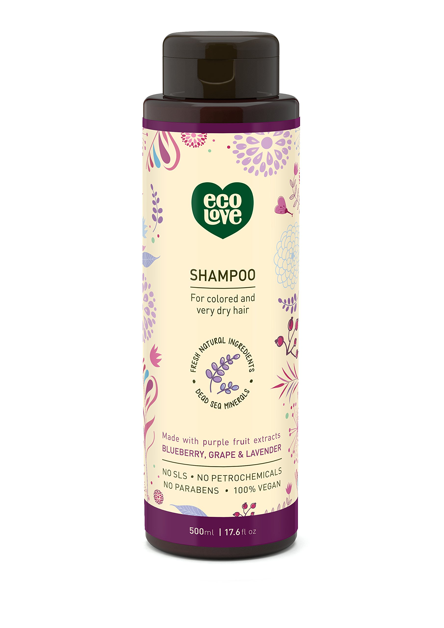 ecoLove - Natural Shampoo for Color Treated Hair & Dry Damaged Hair with Organic Blueberry Grape & Lavender Vegan Shampoo for Women & Men Cruelty Free SLS Free, 17.6 oz by ecoLove
