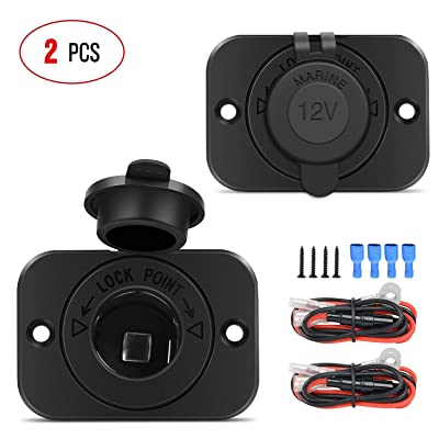 Nilight 2 Pack Car Cigarette Lighter Socket DC 12V Waterproof Power Outlet Adapter Replacement with Terminals Wires and Screws for Marine Boat Motorcycle, Boat, Car,Truck, RV, ATV,2 Years Warranty: Automotive