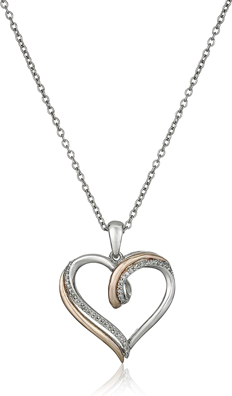 Reversible Heart Necklace With Diamonds in Silver /& 14K Rose Gold