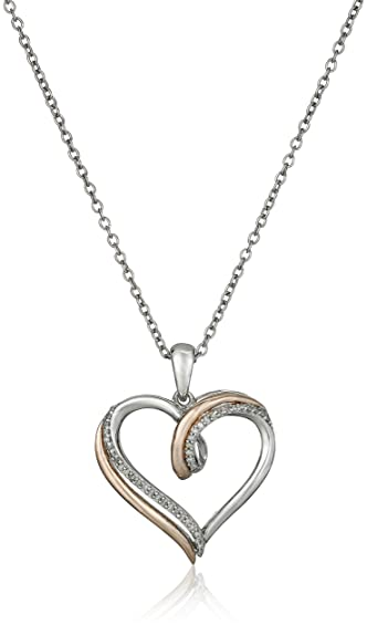 Amazon 14k rose gold over sterling silver diamond heart 14k rose gold over sterling silver diamond heart pendant necklace 110 cttw mozeypictures Choice Image
