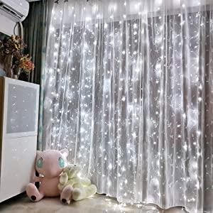 Honche Led Curtain String Lights USB with Remote for Bedroom Wedding (Cool White)