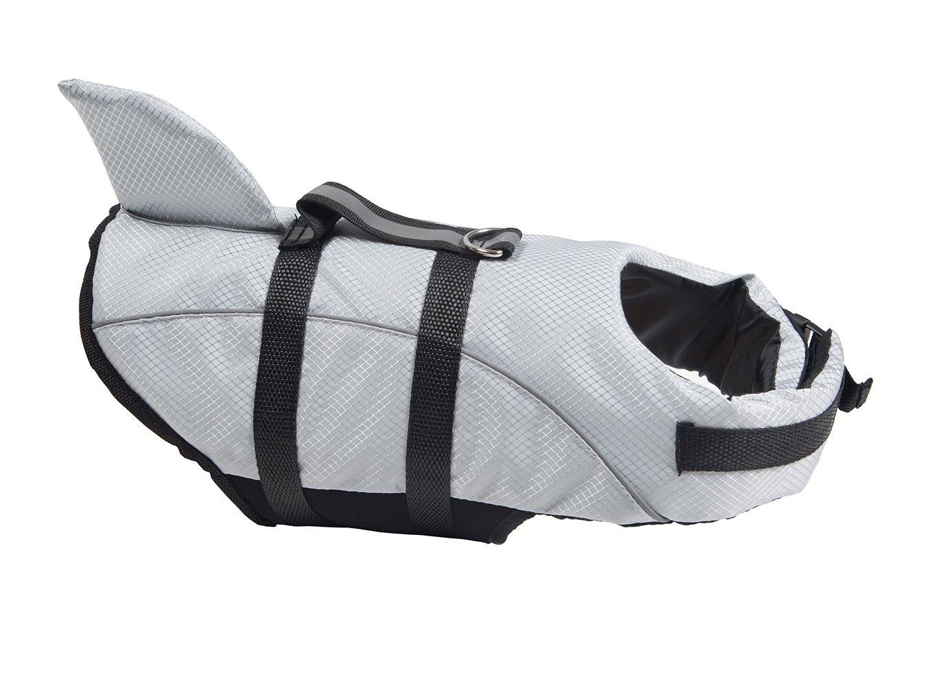 Miniwild Dog Reflective Life Jacket Shark Style Swimming Vest with Adjustable Belts (M, Grey)
