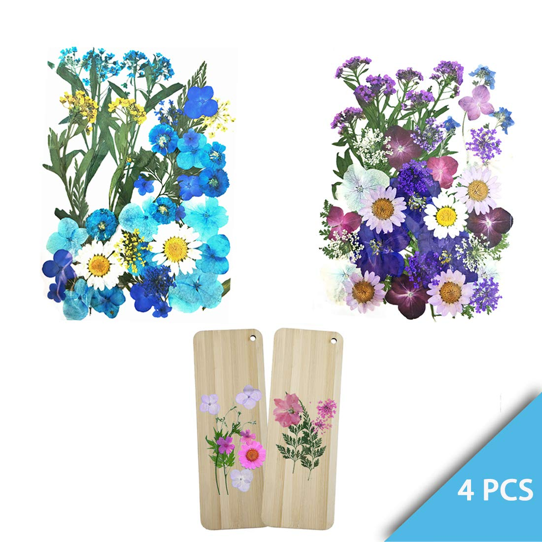 Set of 4 Packets Real Pressed Flowers Includes 2 DIY Flowers Wooden Bookmarks and 2 Dry Flowers Materials for Make Art & Craft