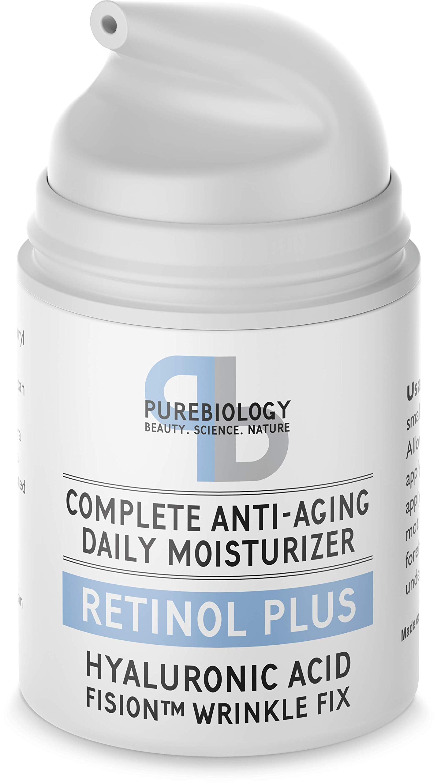 Pure Biology Retinol Moisturizer Cream with Hyaluronic Acid, Vitamins B5, E & Breakthrough Anti Aging, Anti Wrinkle Complex - Face & Eye Skin Care for Men & Women, All Skin Types, 1.7 OZ by Pure Biology