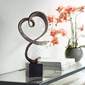 "Studio 55D Swirling Heart 17 1/4"" High Brushed Nickel Modern Sculpture"