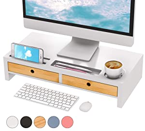 Monitor Riser Stand Desk Shelf - with Drawer Keyboard Storage Stylish White