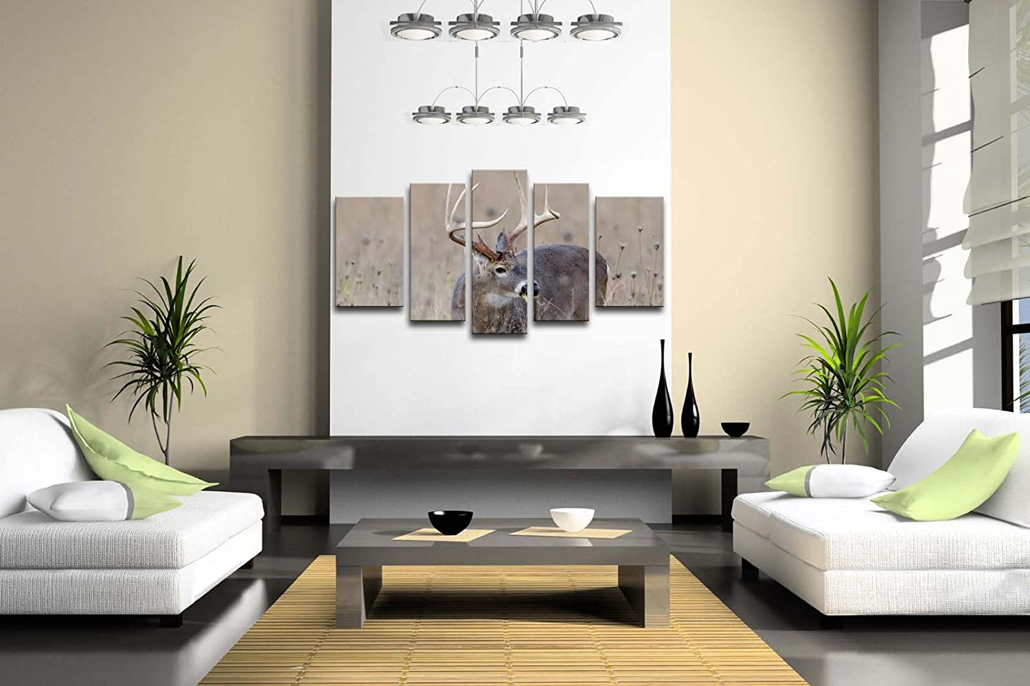 amazon com 5 panel wall art whitetail deer buck in a foggy field amazon com 5 panel wall art whitetail deer buck in a foggy field painting the picture print on canvas animal pictures for home decor decoration gift piece