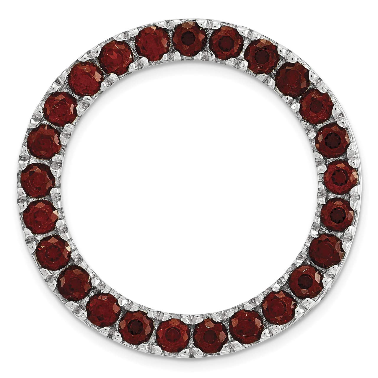 Lex /& Lu Sterling Silver Stackable Expressions Medium Polished Garnet Chain Slide