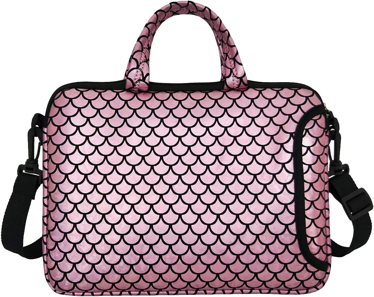 "11.6-Inch Laptop Shoulder Messenger Carrying Bag Case Sleeve For 11"" 11.6"" 12"" 12.5 inch Macbook/Notebook/Ultrabook/Chromebook, Mermaid Scale (Pink)"