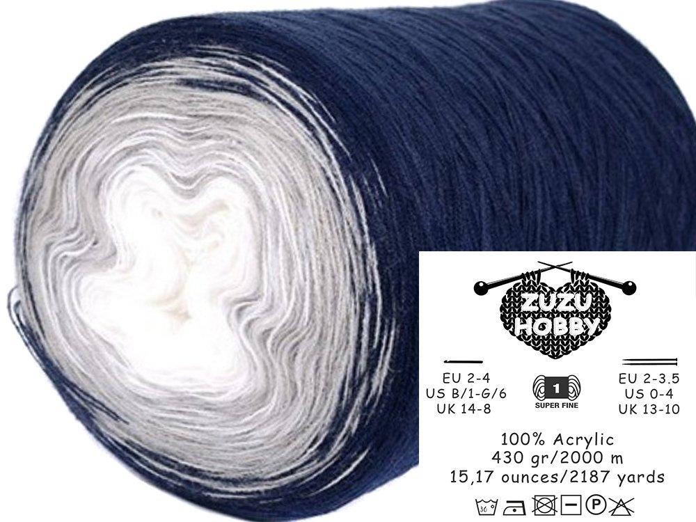 Acrylic yarn cake, Big roll, Ombre Effect, Hand Knitting, Crocheting, Knitting Yarn for Machine Knitting, Multicolor, 15 ounces / 2187 yards (104)
