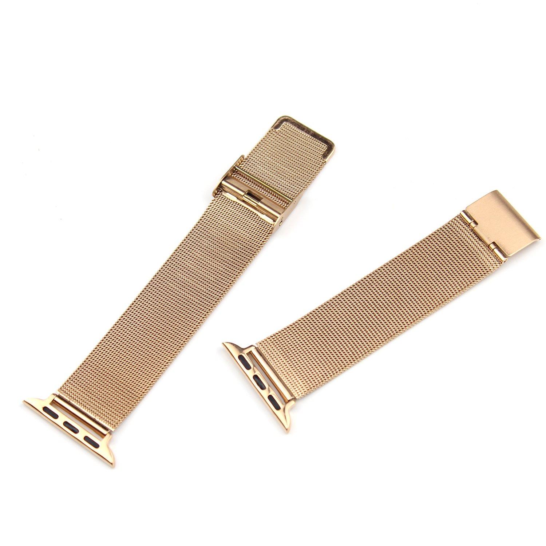 18 / 20 / 22 / 24 mmステンレススチール時計バンドストラップメッシュダブルクラスプブレスレット  Golden for 42mm B0755HMKYN