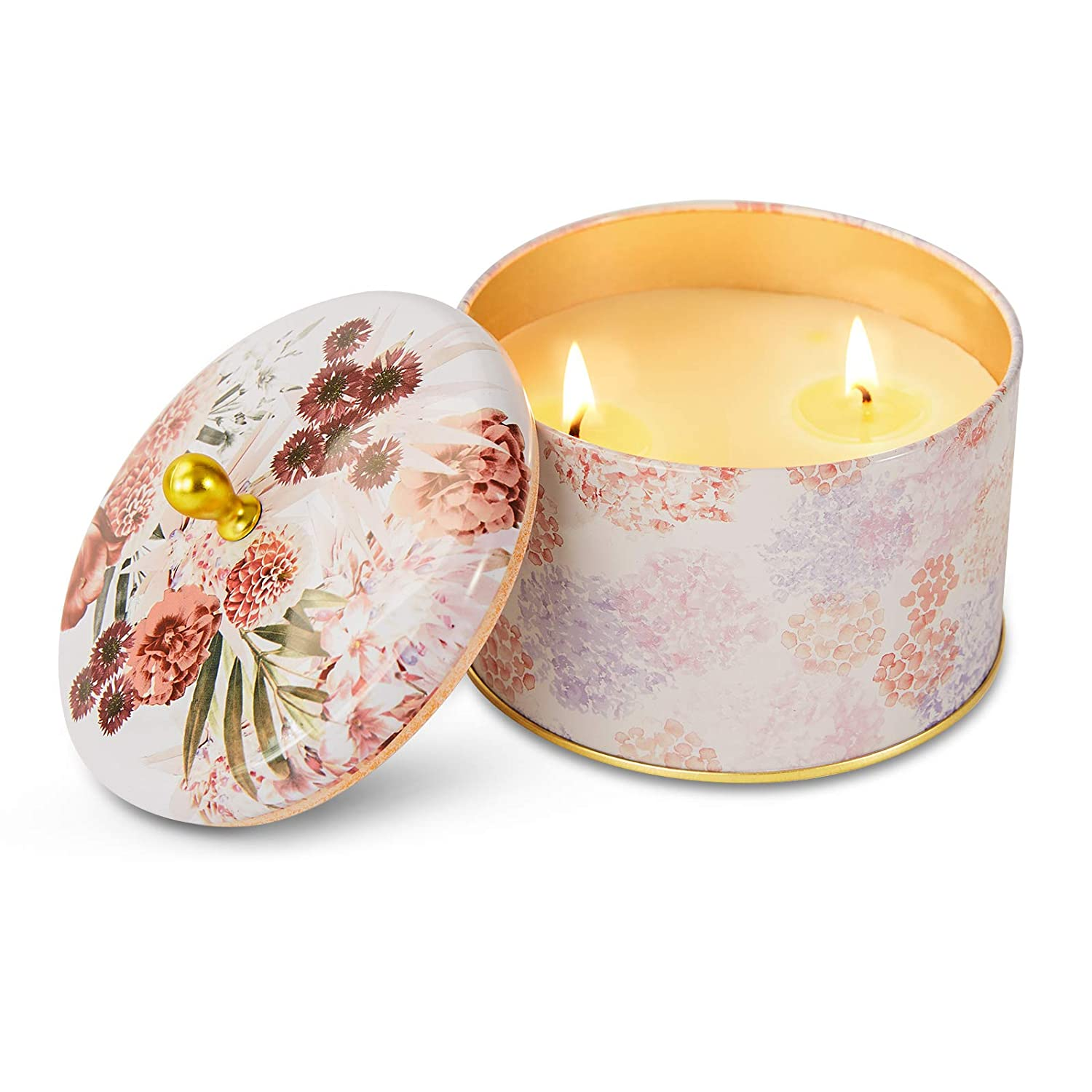 Round Aromatherapy Candles with Tin Can, Scented Candles Jar with 2 Wicks for Home, Meditation Candles with Daisy and Rose Fragrance for Calming and Stress Relieving